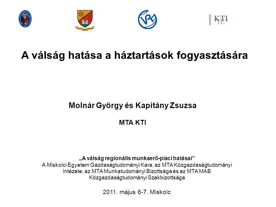 """A válság hatása a háztartások fogyasztására Molnár György és Kapitány Zsuzsa MTA KTI """"A válság regionális munkaerő-piaci hatásai"""" A Miskolci Egyetem G"""