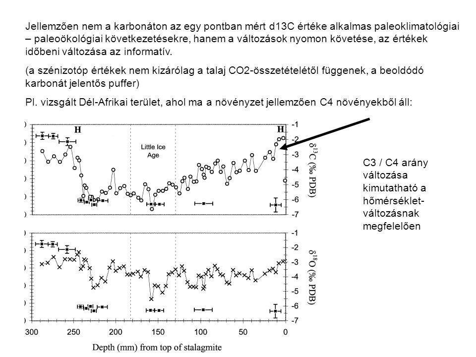 Jellemzően nem a karbonáton az egy pontban mért d13C értéke alkalmas paleoklimatológiai – paleoökológiai következetésekre, hanem a változások nyomon k