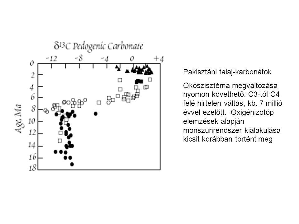 Pakisztáni talaj-karbonátok Ökoszisztéma megváltozása nyomon követhető: C3-tól C4 felé hirtelen váltás, kb. 7 millió évvel ezelőtt. Oxigénizotóp elemz