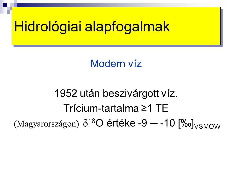 Hidrológiai alapfogalmak Modern víz 1952 után beszivárgott víz. Trícium-tartalma ≥1 TE  (Magyarországon)  18 O értéke -9 ─ -10 [‰] VSMOW