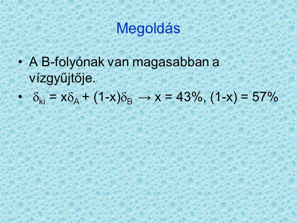 Megoldás A B-folyónak van magasabban a vízgyűjtője.  ki = x  A + (1-x)  B → x = 43%, (1-x) = 57%