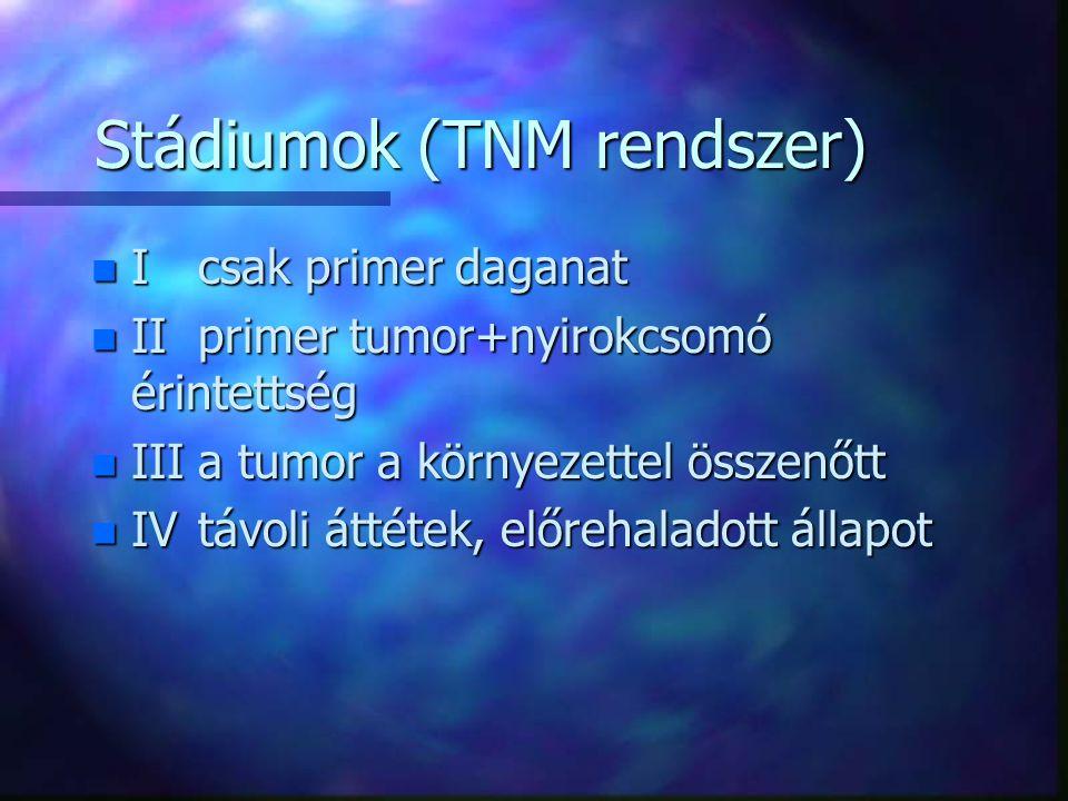 A tumor hatásai a szervezetre n helyi hatások –térkitöltő –roncsoló n szisztémás hatások –általános –étvágytalanság, fogyás –idegrendszeri tünetek –az érintett szerv funkciócsökkenése