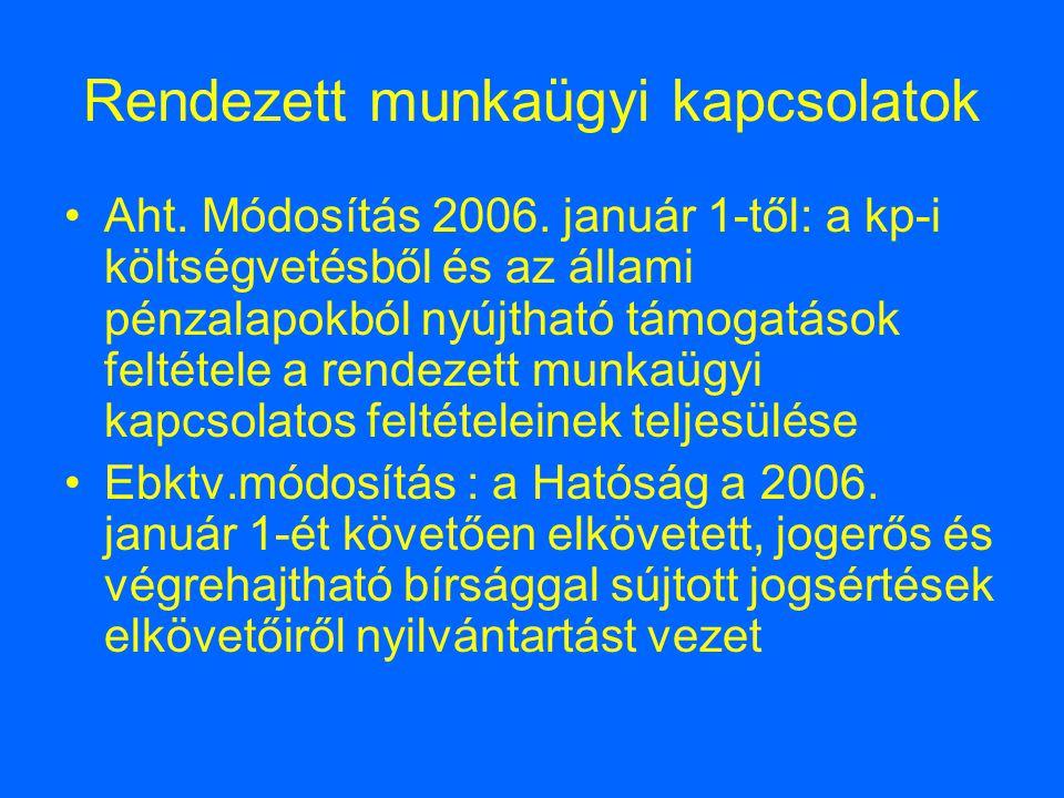 Rendezett munkaügyi kapcsolatok Aht. Módosítás 2006. január 1-től: a kp-i költségvetésből és az állami pénzalapokból nyújtható támogatások feltétele a