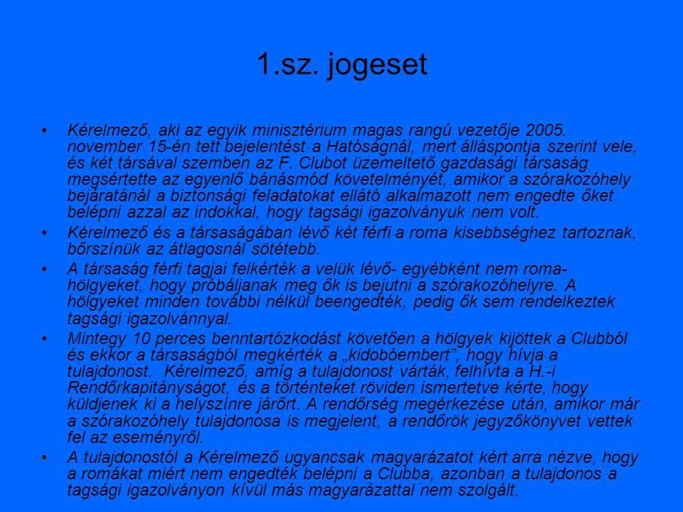 1.sz. jogeset Kérelmező, aki az egyik minisztérium magas rangú vezetője 2005. november 15-én tett bejelentést a Hatóságnál, mert álláspontja szerint v