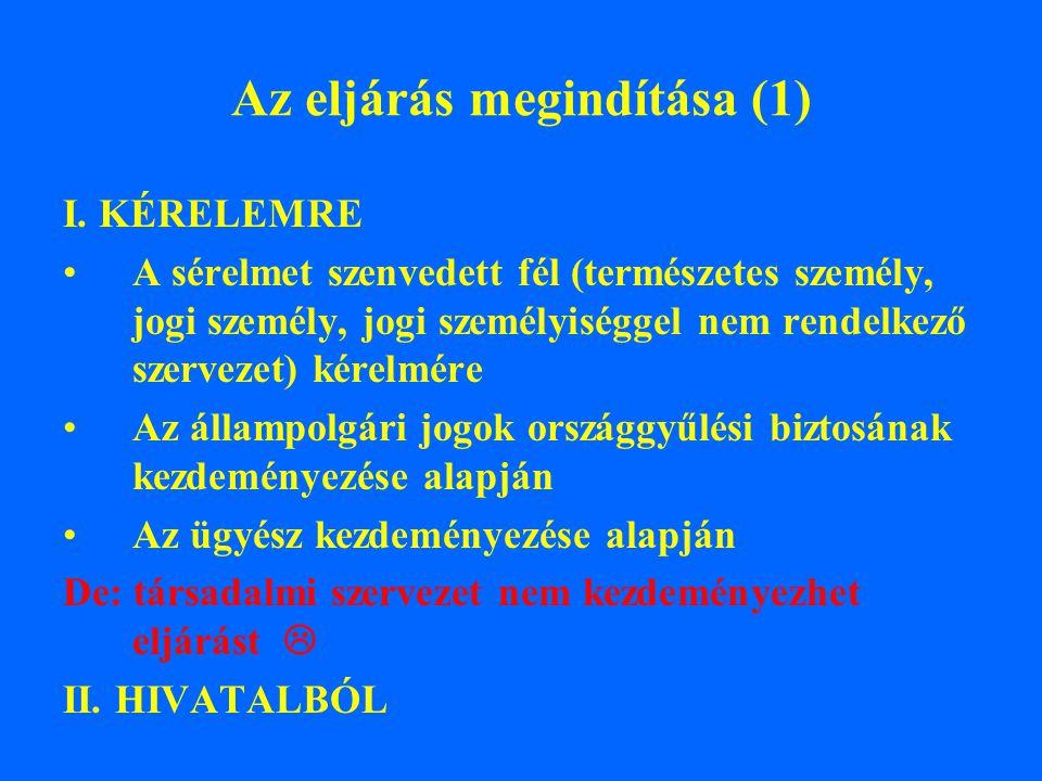 Az eljárás megindítása (1) I. KÉRELEMRE A sérelmet szenvedett fél (természetes személy, jogi személy, jogi személyiséggel nem rendelkező szervezet) ké