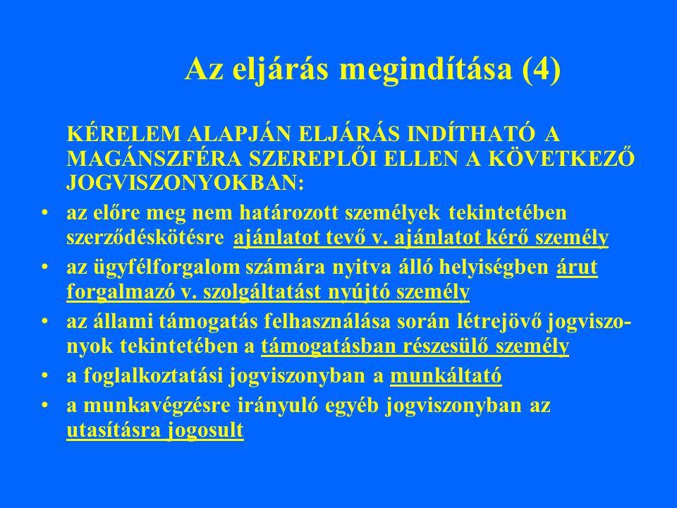 Az eljárás megindítása (4) KÉRELEM ALAPJÁN ELJÁRÁS INDÍTHATÓ A MAGÁNSZFÉRA SZEREPLŐI ELLEN A KÖVETKEZŐ JOGVISZONYOKBAN: az előre meg nem határozott sz