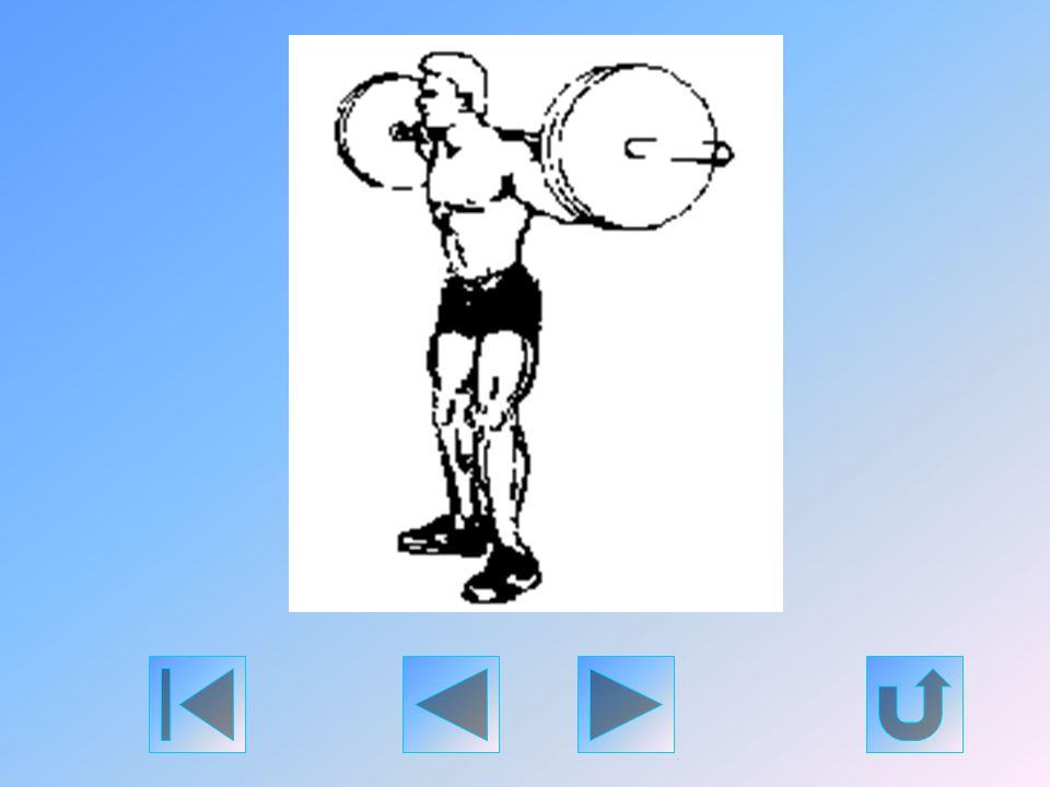Emeljen le egy kétkaros súlyzót a guggoló állványról, és a kezével a rúdon tartsa azt a nyaka tövénél. Szükség esetén, az egyensúly javítása érdekében