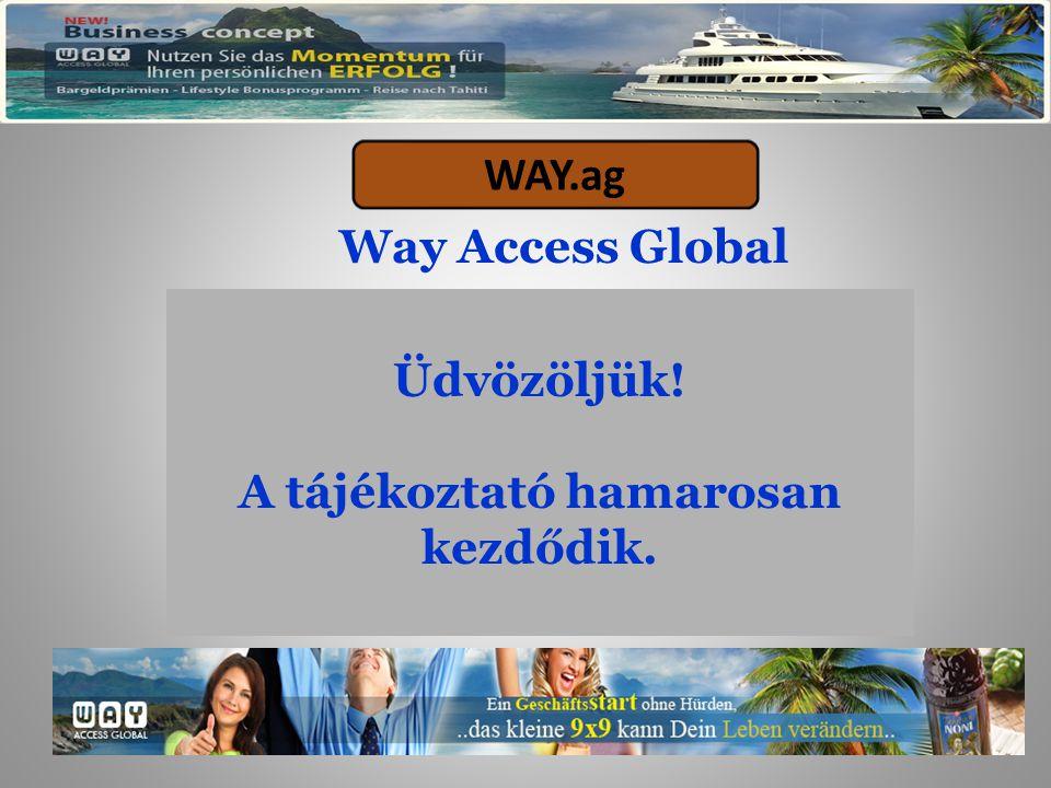 Way Access Global WAY.ag Üdvözöljük! A tájékoztató hamarosan kezdődik.