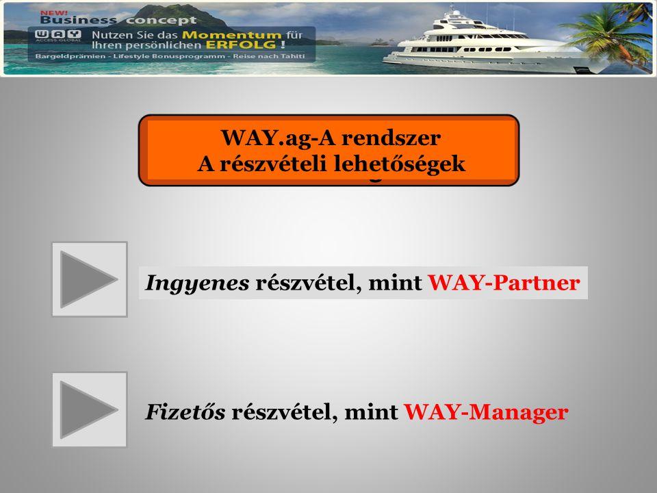 WAY.ag – Das System Die Teilnahmemöglichkeiten Ingyenes részvétel, mint WAY-Partner Fizetős részvétel, mint WAY-Manager WAY.ag-A rendszer A részvételi lehetőségek