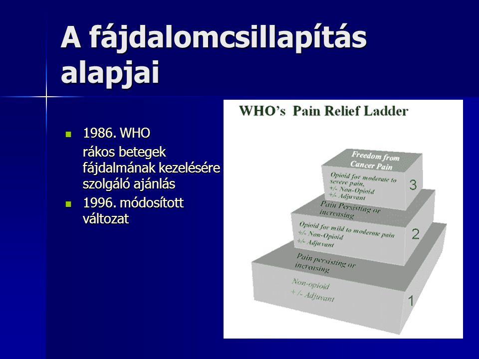 A fájdalomcsillapítás alapjai 1986. WHO 1986. WHO rákos betegek fájdalmának kezelésére szolgáló ajánlás 1996. módosított változat 1996. módosított vál