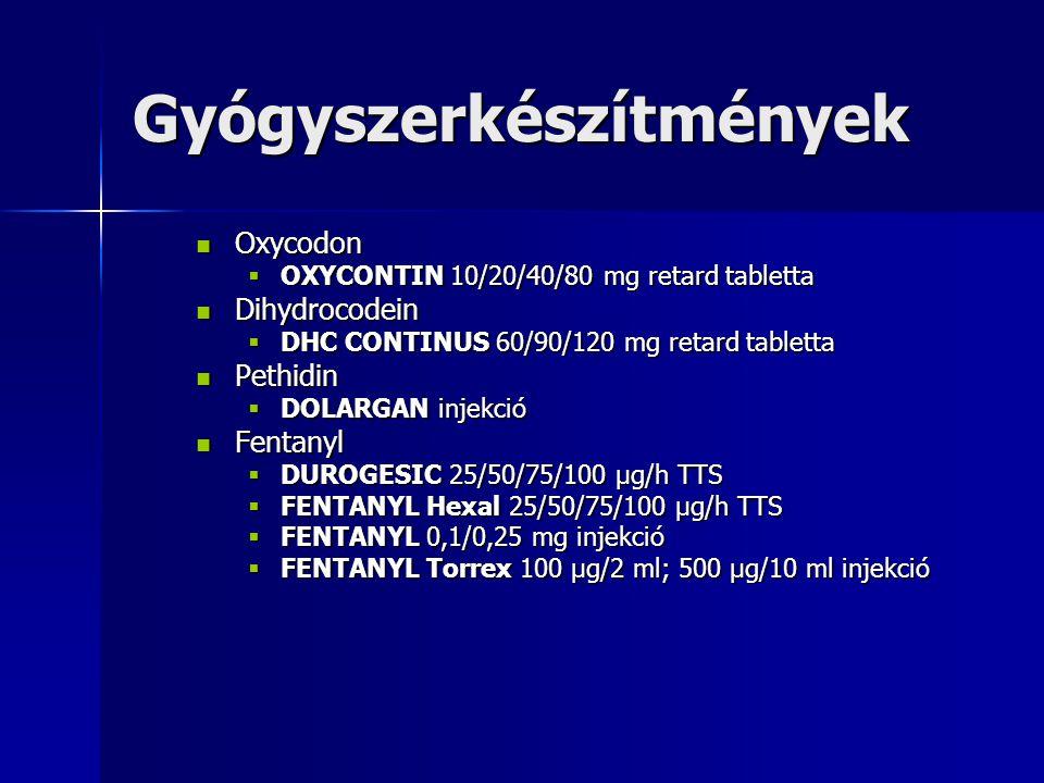 Oxycodon Oxycodon  OXYCONTIN 10/20/40/80 mg retard tabletta Dihydrocodein Dihydrocodein  DHC CONTINUS 60/90/120 mg retard tabletta Pethidin Pethidin