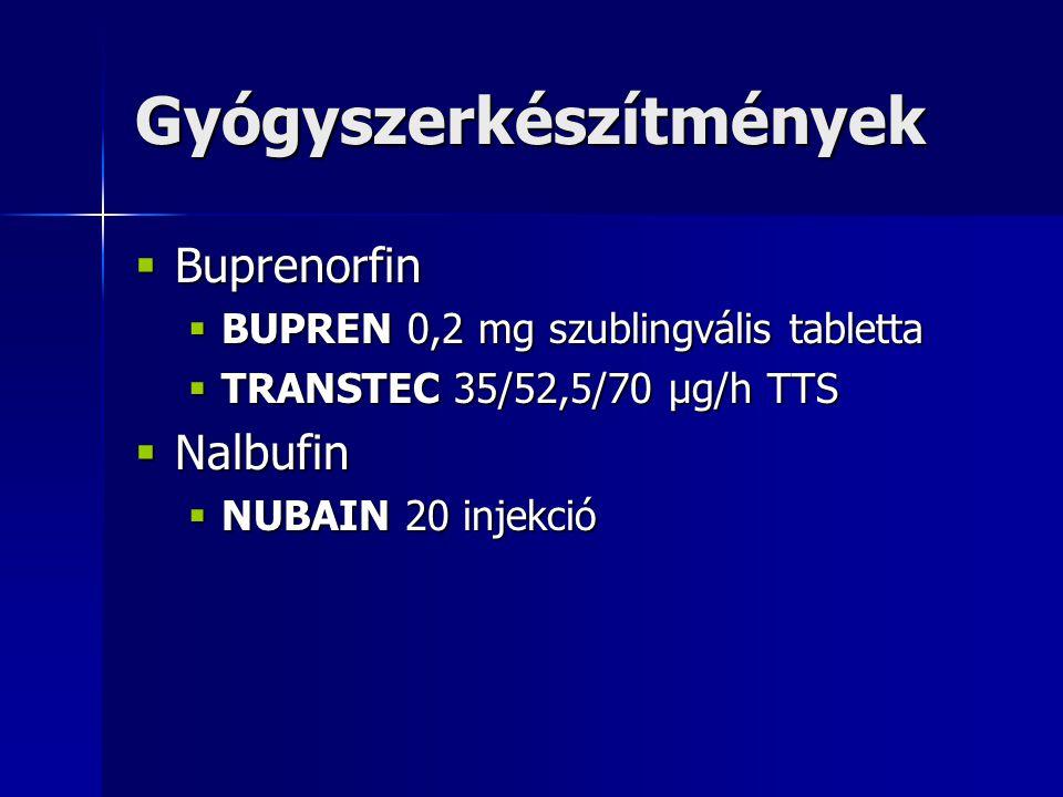 Gyógyszerkészítmények  Buprenorfin  BUPREN 0,2 mg szublingvális tabletta  TRANSTEC 35/52,5/70 µg/h TTS  Nalbufin  NUBAIN 20 injekció
