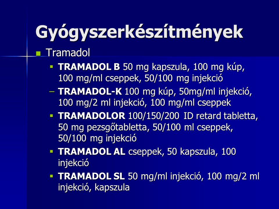 Tramadol Tramadol  TRAMADOL B 50 mg kapszula, 100 mg kúp, 100 mg/ml cseppek, 50/100 mg injekció –TRAMADOL-K 100 mg kúp, 50mg/ml injekció, 100 mg/2 ml