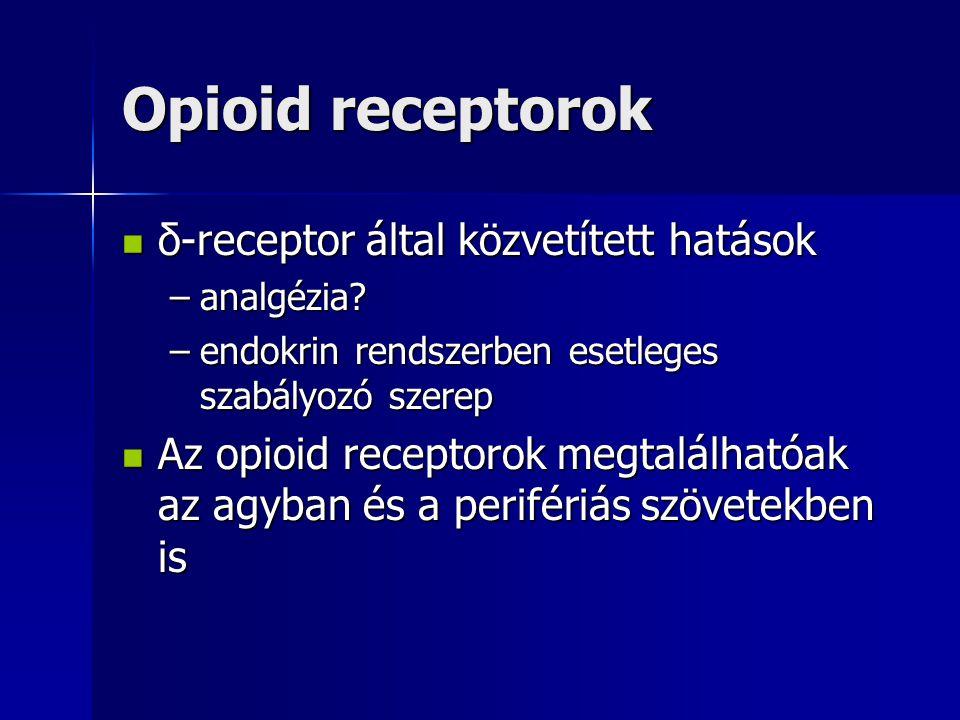 Opioid receptorok δ-receptor által közvetített hatások δ-receptor által közvetített hatások –analgézia? –endokrin rendszerben esetleges szabályozó sze