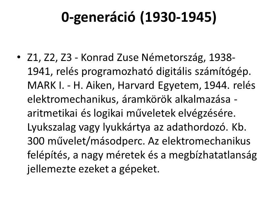 0-generáció (1930-1945) Z1, Z2, Z3 - Konrad Zuse Németország, 1938- 1941, relés programozható digitális számítógép. MARK I. - H. Aiken, Harvard Egyete