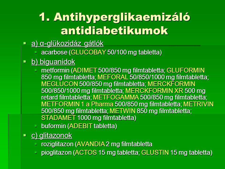 1. Antihyperglikaemizáló antidiabetikumok  a) α-glükozidáz gátlók  acarbose (GLUCOBAY 50/100 mg tabletta)  b) biguanidok  metformin (ADIMET 500/85