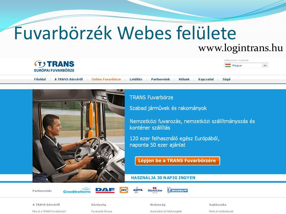 Fuvarbörzék Webes felülete www. logintrans. hu