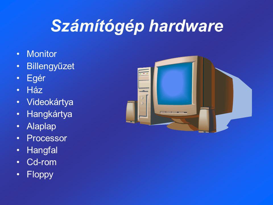 Számítógép hardware Monitor Billengyűzet Egér Ház Videokártya Hangkártya Alaplap Processor Hangfal Cd-rom Floppy