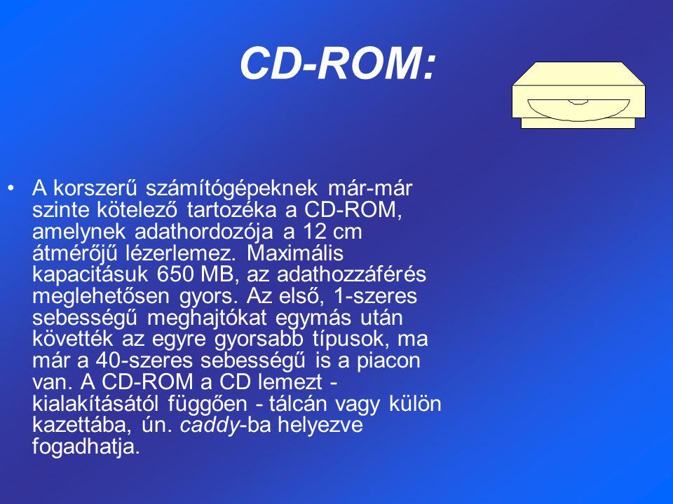 CD-ROM: A korszerű számítógépeknek már-már szinte kötelező tartozéka a CD-ROM, amelynek adathordozója a 12 cm átmérőjű lézerlemez.