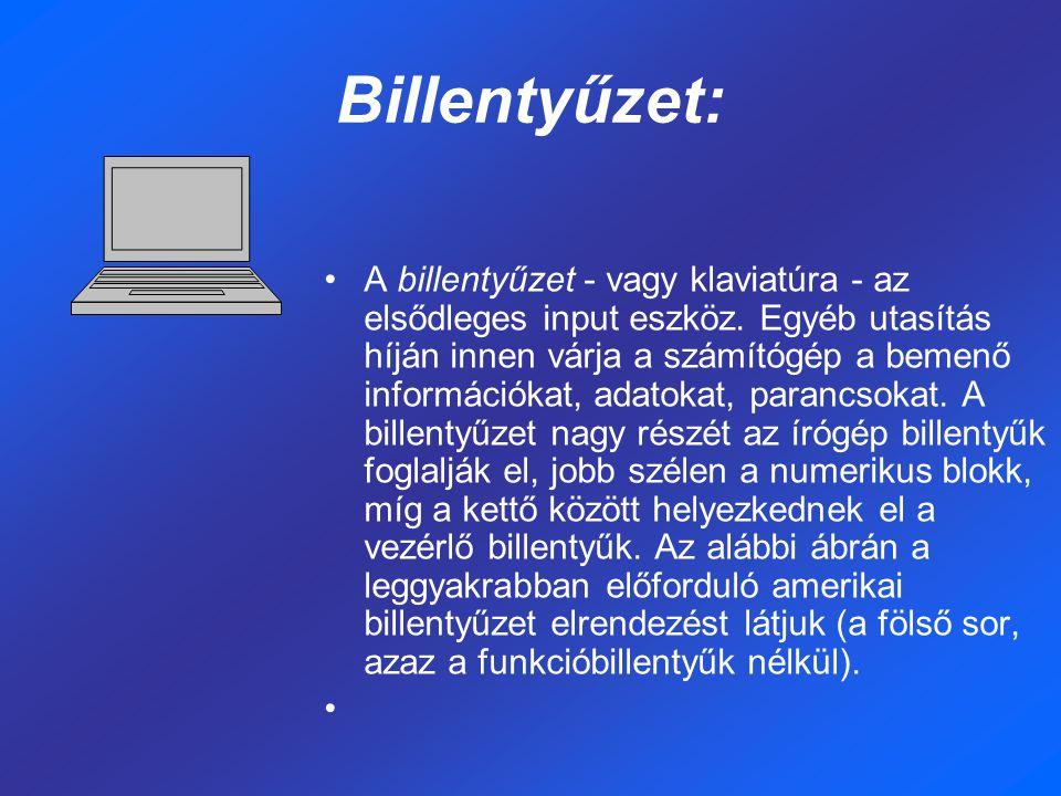 Billentyűzet: A billentyűzet - vagy klaviatúra - az elsődleges input eszköz. Egyéb utasítás híján innen várja a számítógép a bemenő információkat, ada