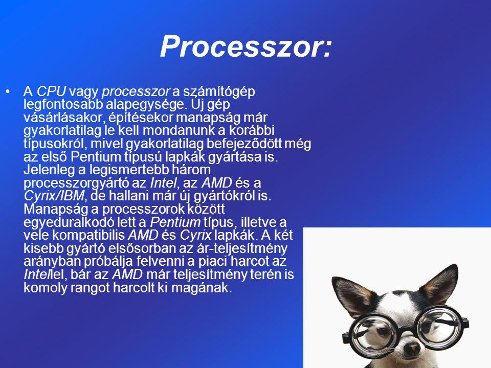 Processzor: A CPU vagy processzor a számítógép legfontosabb alapegysége. Új gép vásárlásakor, építésekor manapság már gyakorlatilag le kell mondanunk