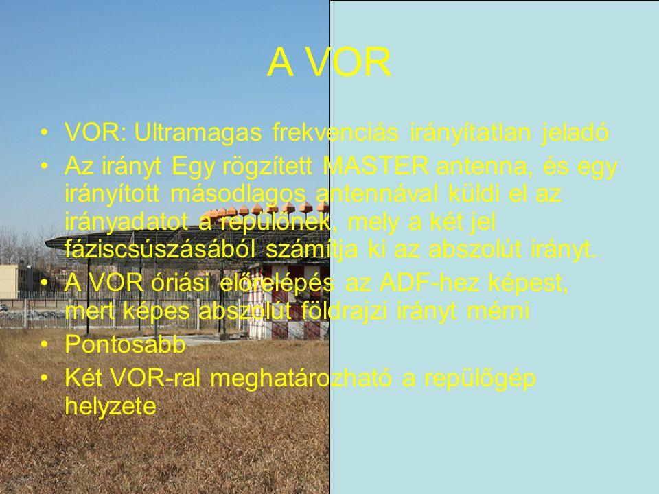 A VOR VOR: Ultramagas frekvenciás irányítatlan jeladó Az irányt Egy rögzített MASTER antenna, és egy irányított másodlagos antennával küldi el az irányadatot a repülőnek, mely a két jel fáziscsúszásából számítja ki az abszolút irányt.