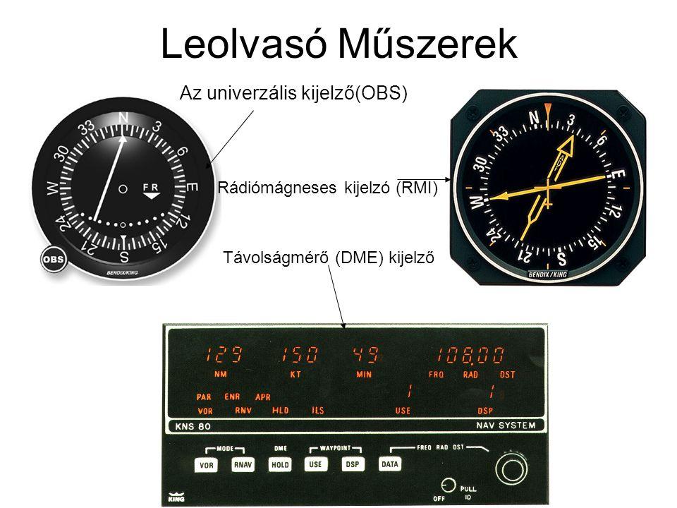 Leolvasó Műszerek Az univerzális kijelző(OBS) Rádiómágneses kijelzó (RMI) Távolságmérő (DME) kijelző