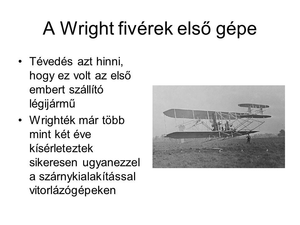 A Wright fivérek első gépe Tévedés azt hinni, hogy ez volt az első embert szállító légijármű Wrighték már több mint két éve kísérleteztek sikeresen ugyanezzel a szárnykialakítással vitorlázógépeken