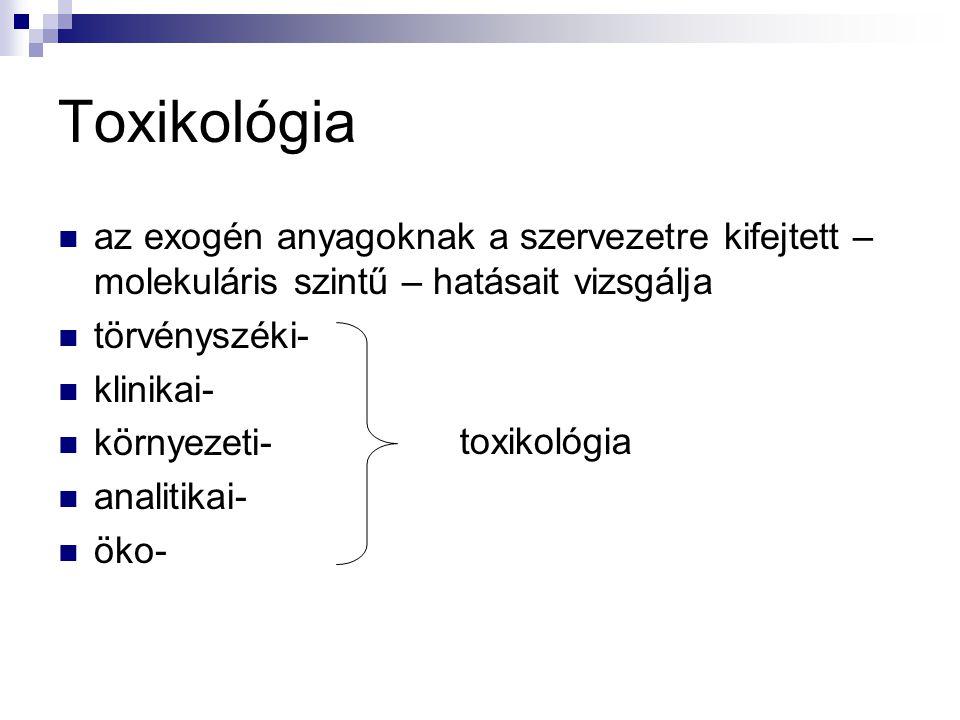 Toxikológia az exogén anyagoknak a szervezetre kifejtett – molekuláris szintű – hatásait vizsgálja törvényszéki- klinikai- környezeti- analitikai- öko