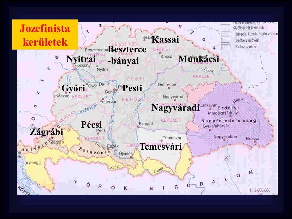 Jozefinista kerületek Kassai Beszterce -bányai Nyitrai Győri Pécsi Pesti Temesvári Nagyváradi Munkácsi Zágrábi