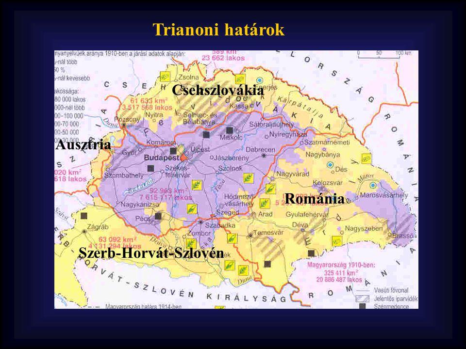 Trianoni határok Csehszlovákia Románia Szerb-Horvát-Szlovén Ausztria