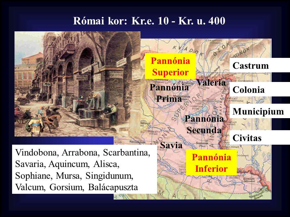 Római kor: Kr.e. 10 - Kr. u. 400 Valeria Pannónia Prima Pannónia Secunda Savia Pannónia Superior Pannónia Inferior Castrum Colonia Municipium Civitas