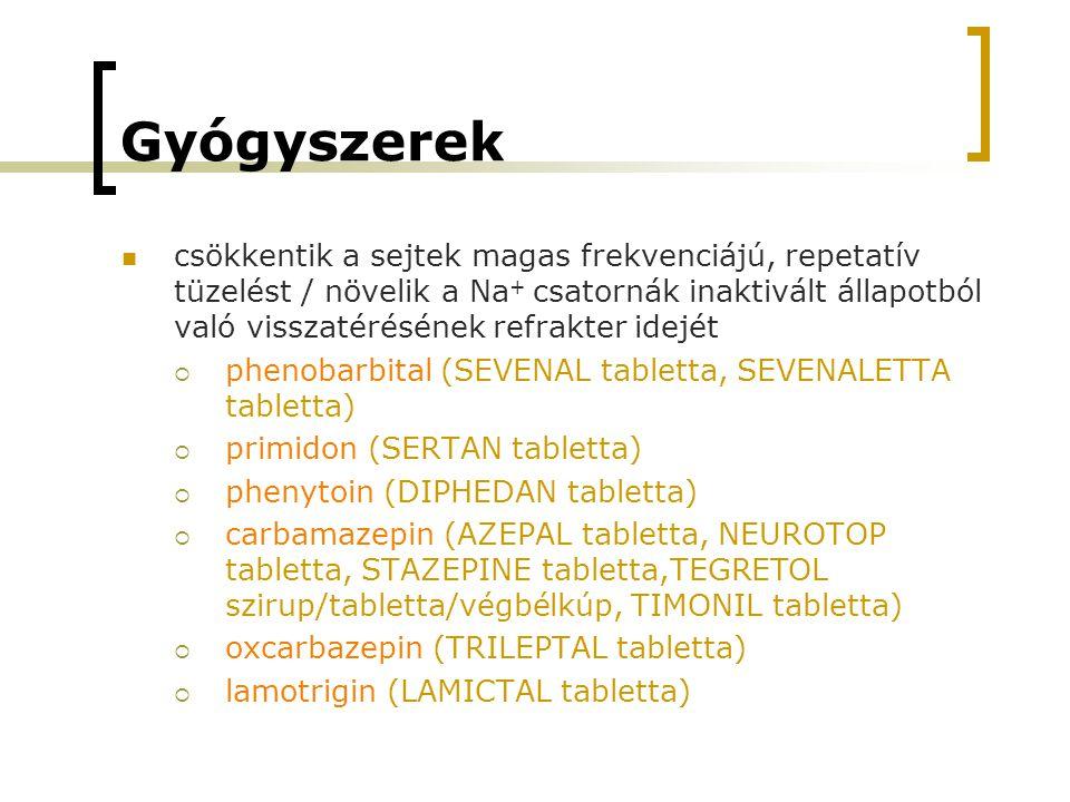 Gyógyszerek csökkentik a sejtek magas frekvenciájú, repetatív tüzelést / növelik a Na + csatornák inaktivált állapotból való visszatérésének refrakter idejét  phenobarbital (SEVENAL tabletta, SEVENALETTA tabletta)  primidon (SERTAN tabletta)  phenytoin (DIPHEDAN tabletta)  carbamazepin (AZEPAL tabletta, NEUROTOP tabletta, STAZEPINE tabletta,TEGRETOL szirup/tabletta/végbélkúp, TIMONIL tabletta)  oxcarbazepin (TRILEPTAL tabletta)  lamotrigin (LAMICTAL tabletta)