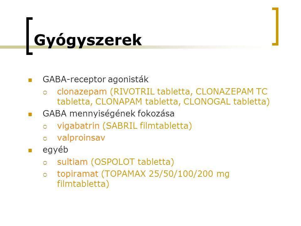 Gyógyszerek GABA-receptor agonisták  clonazepam (RIVOTRIL tabletta, CLONAZEPAM TC tabletta, CLONAPAM tabletta, CLONOGAL tabletta) GABA mennyiségének fokozása  vigabatrin (SABRIL filmtabletta)  valproinsav egyéb  sultiam (OSPOLOT tabletta)  topiramat (TOPAMAX 25/50/100/200 mg filmtabletta)