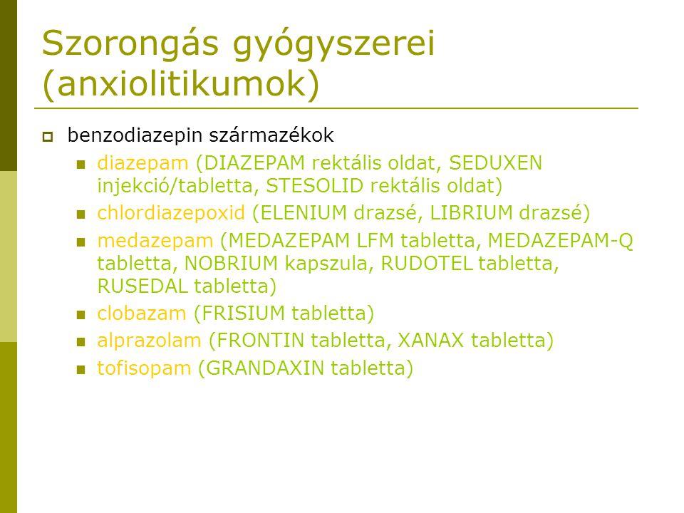 Szorongás gyógyszerei (anxiolitikumok)  benzodiazepin származékok diazepam (DIAZEPAM rektális oldat, SEDUXEN injekció/tabletta, STESOLID rektális oldat) chlordiazepoxid (ELENIUM drazsé, LIBRIUM drazsé) medazepam (MEDAZEPAM LFM tabletta, MEDAZEPAM-Q tabletta, NOBRIUM kapszula, RUDOTEL tabletta, RUSEDAL tabletta) clobazam (FRISIUM tabletta) alprazolam (FRONTIN tabletta, XANAX tabletta) tofisopam (GRANDAXIN tabletta)