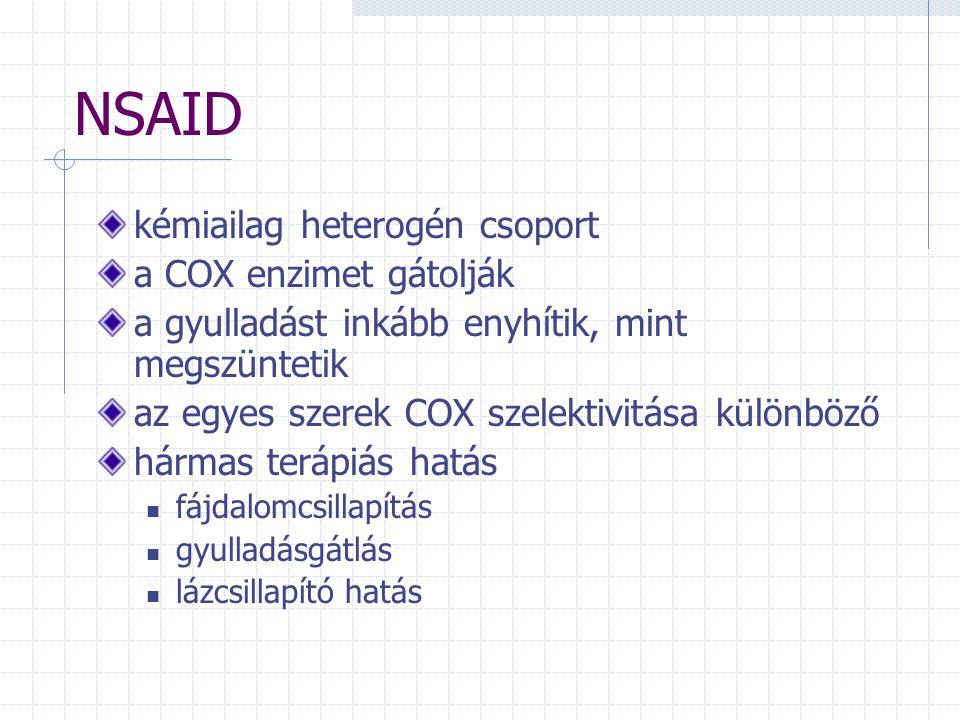 NSAID kémiailag heterogén csoport a COX enzimet gátolják a gyulladást inkább enyhítik, mint megszüntetik az egyes szerek COX szelektivitása különböző