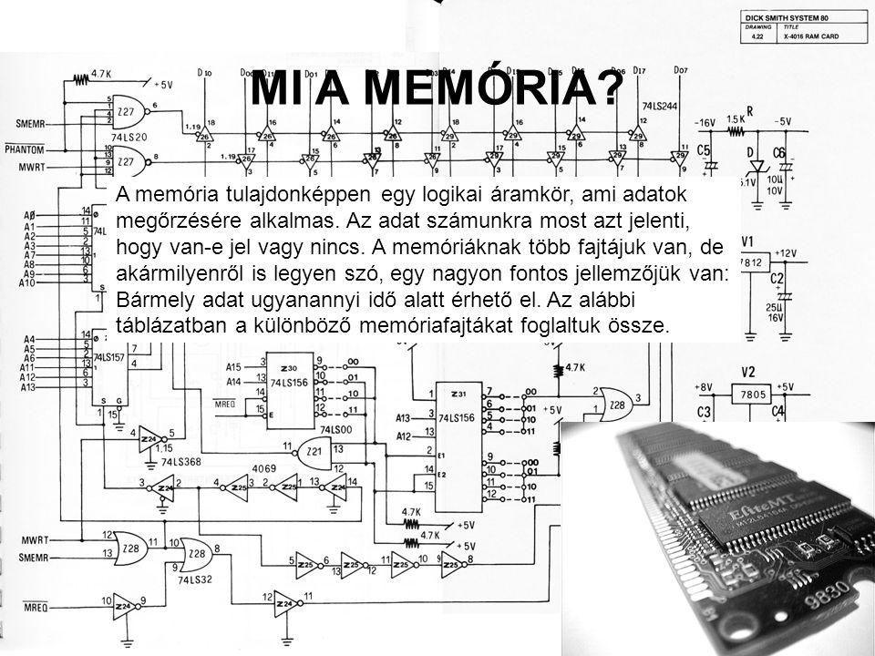 MI A MEMÓRIA? A memória tulajdonképpen egy logikai áramkör, ami adatok megőrzésére alkalmas. Az adat számunkra most azt jelenti, hogy van-e jel vagy n