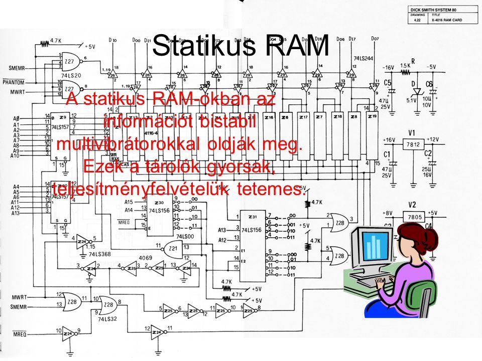 Statikus RAM A statikus RAM-okban az információt bistabil multivibrátorokkal oldják meg. Ezek a tárolók gyorsak, teljesítményfelvételük tetemes.