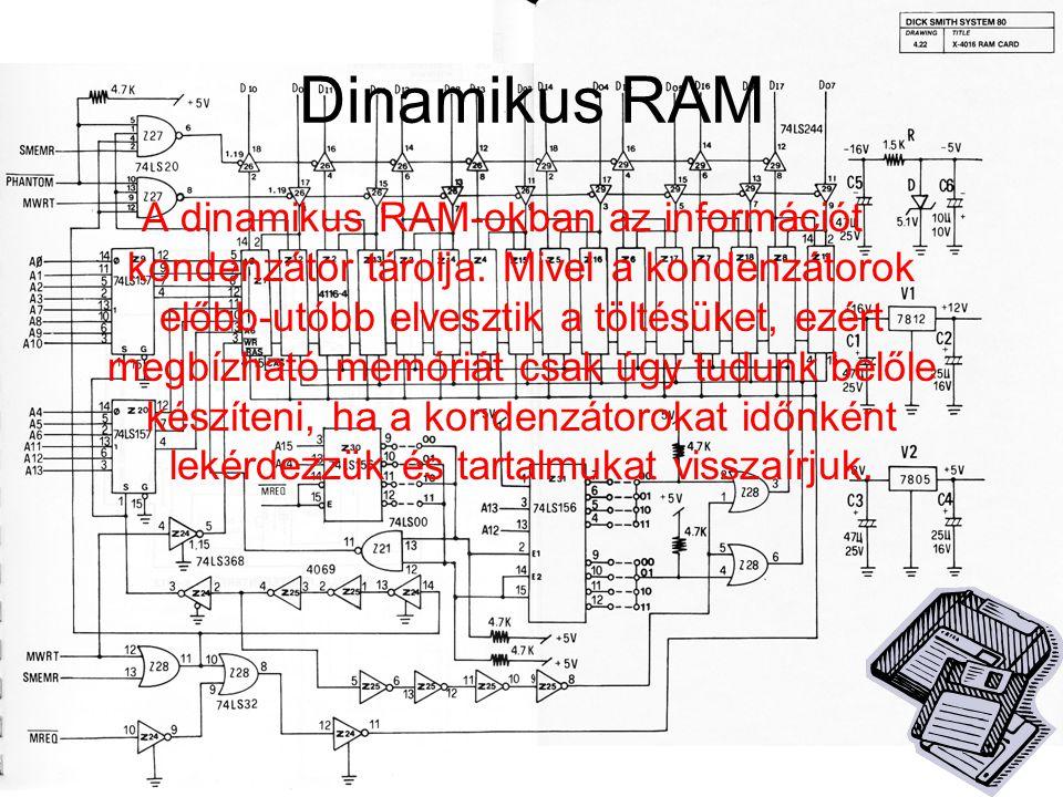 Dinamikus RAM A dinamikus RAM-okban az információt kondenzátor tárolja. Mivel a kondenzátorok előbb-utóbb elvesztik a töltésüket, ezért megbízható mem