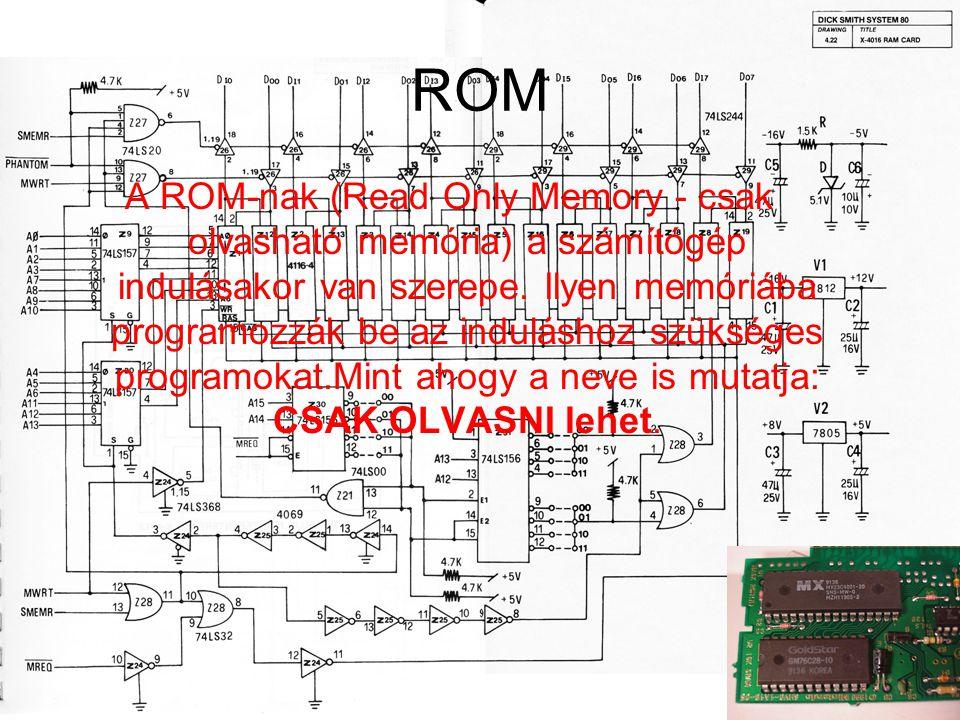 ROM A ROM-nak (Read Only Memory - csak olvasható memória) a számítógép indulásakor van szerepe. Ilyen memóriába programozzák be az induláshoz szüksége