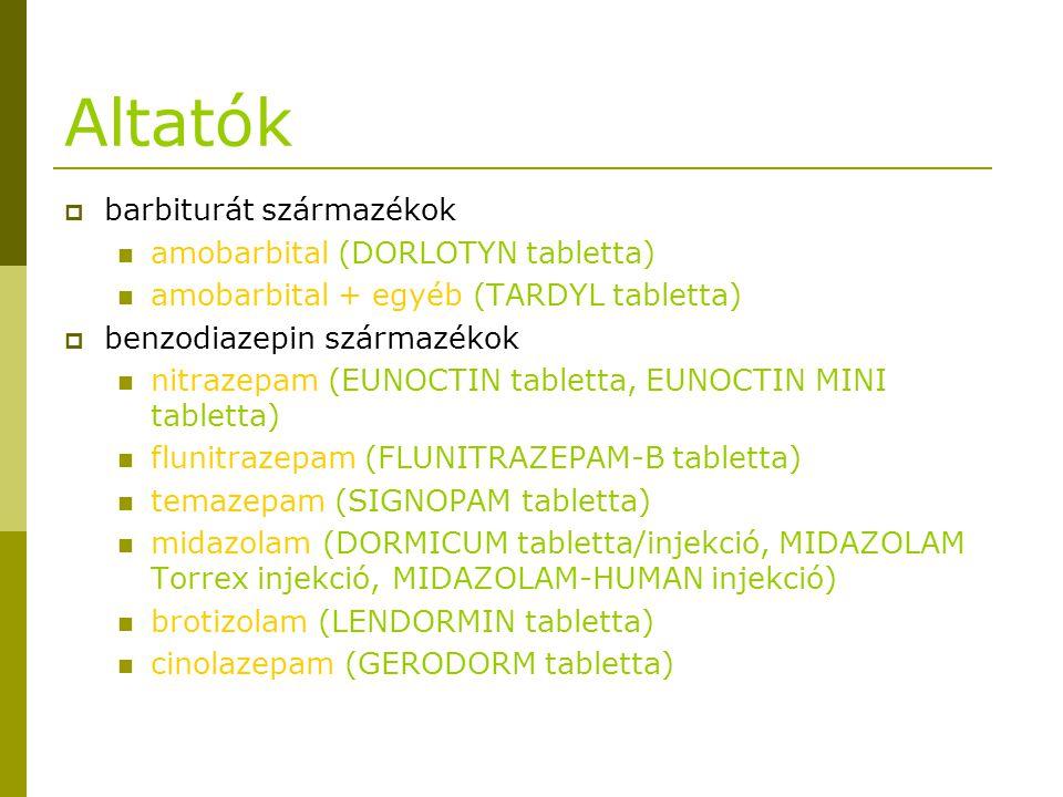 Altatók  barbiturát származékok amobarbital (DORLOTYN tabletta) amobarbital + egyéb (TARDYL tabletta)  benzodiazepin származékok nitrazepam (EUNOCTI