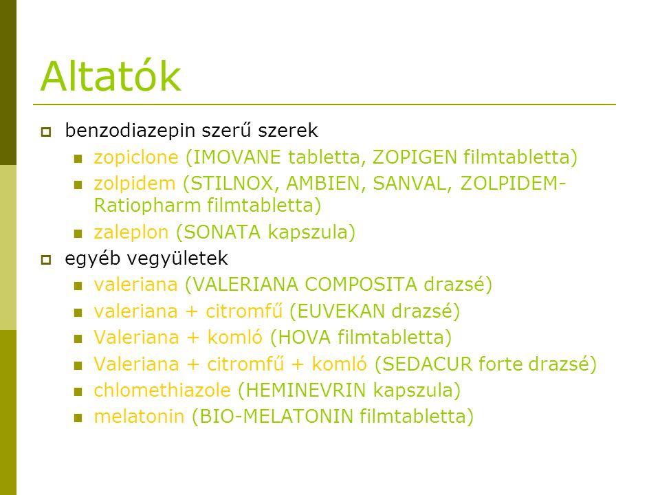 Altatók  benzodiazepin szerű szerek zopiclone (IMOVANE tabletta, ZOPIGEN filmtabletta) zolpidem (STILNOX, AMBIEN, SANVAL, ZOLPIDEM- Ratiopharm filmta