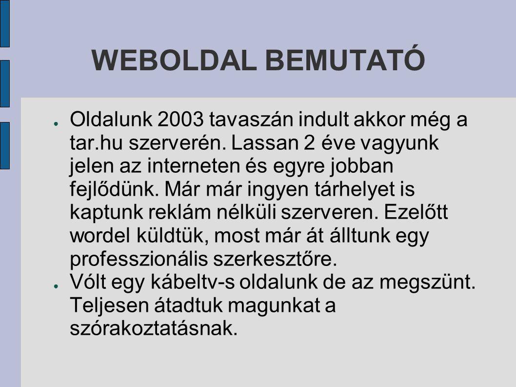 WEBOLDAL BEMUTATÓ ● Oldalunk 2003 tavaszán indult akkor még a tar.hu szerverén.