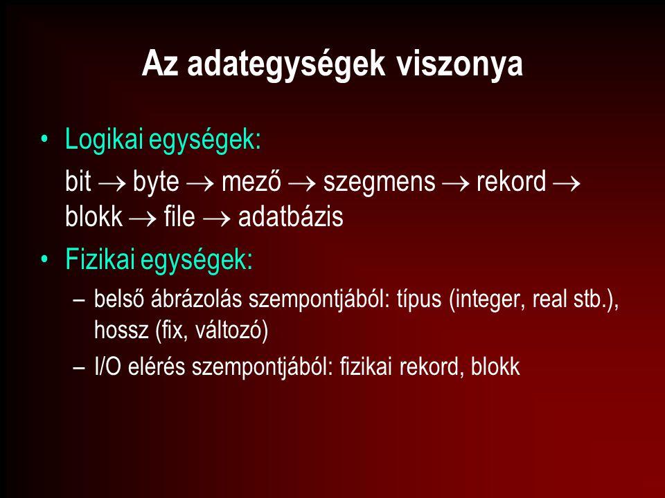 Az adategységek viszonya Logikai egységek: bit  byte  mező  szegmens  rekord  blokk  file  adatbázis Fizikai egységek: –belső ábrázolás szempon