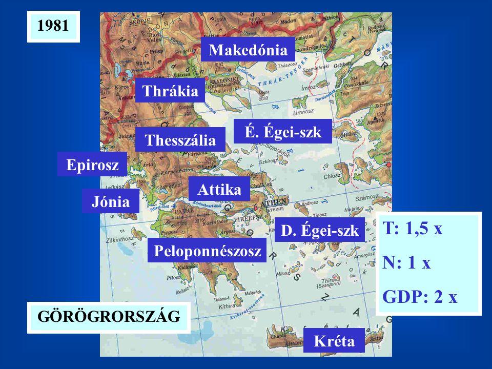 1981 T: 1,5 x N: 1 x GDP: 2 x GÖRÖGRORSZÁG D. Égei-szk É. Égei-szk Kréta Peloponnészosz Attika Jónia Epirosz Thesszália Makedónia Thrákia