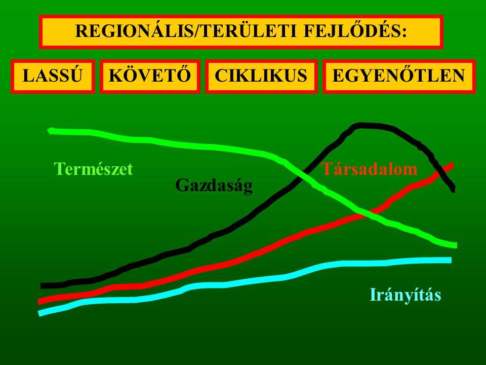 LASSÚ REGIONÁLIS/TERÜLETI FEJLŐDÉS: CIKLIKUSKÖVETŐEGYENŐTLEN Gazdaság TársadalomTermészet Irányítás