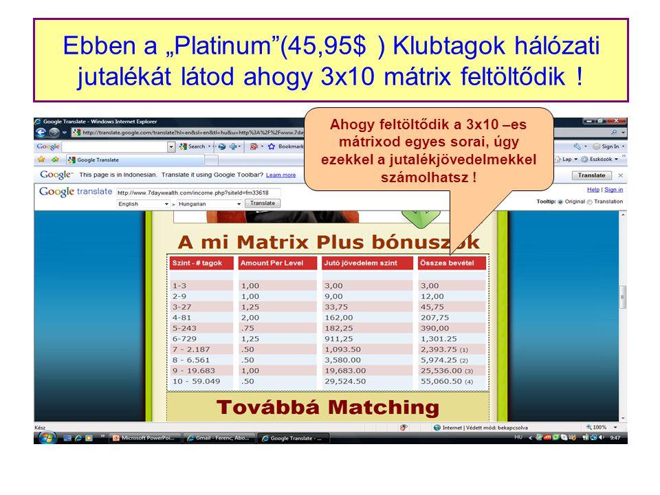 """Ebben a """"Platinum (45,95$ ) Klubtagok hálózati jutalékát látod ahogy 3x10 mátrix feltöltődik ."""