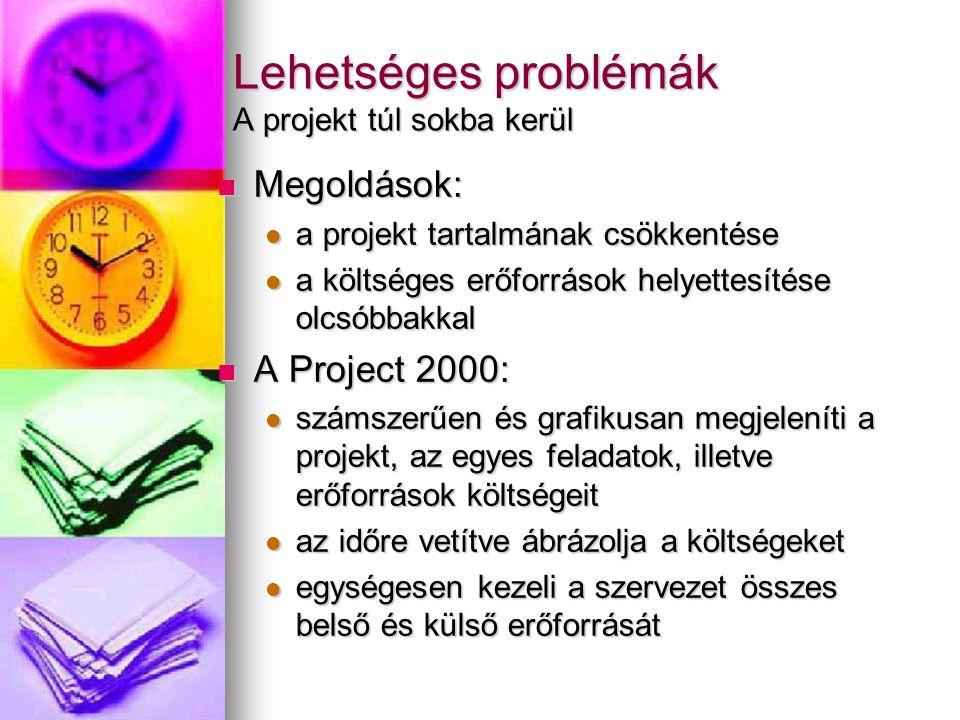 Lehetséges problémák A projekt túl sokba kerül Megoldások: Megoldások: a projekt tartalmának csökkentése a projekt tartalmának csökkentése a költséges