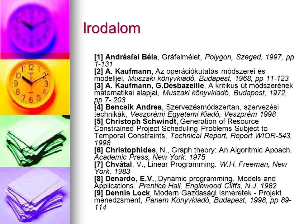 Irodalom [1] Andrásfai Béla, Gráfelmélet, Polygon, Szeged, 1997, pp 1-131 [2] A. Kaufmann, Az operációkutatás módszerei és modelljei, Muszaki könyvkia