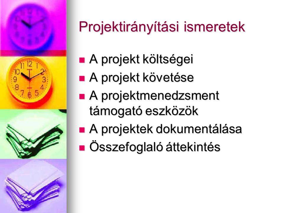 Az életciklus menedzselése A projekt lezárása A sikeres gyakorlat megőrzésének alapja A sikeres gyakorlat megőrzésének alapja az eredeti és végső projektterv összevetése az eredeti és végső projektterv összevetése a jó megoldások kiemelése, javaslat a hibák jövőbeni elkerülésére a jó megoldások kiemelése, javaslat a hibák jövőbeni elkerülésére a projektfájl archiválása a projektfájl archiválása A Project 2000: A Project 2000: megjeleníti az eredeti és a végső projektfájl közti különbségeket megjeleníti az eredeti és a végső projektfájl közti különbségeket tárolja a projekt közben keletkezett feljegyzéseket tárolja a projekt közben keletkezett feljegyzéseket jelentéseket készít jelentéseket készít lehetővé teszi a projekt sablonként való mentését lehetővé teszi a projekt sablonként való mentését
